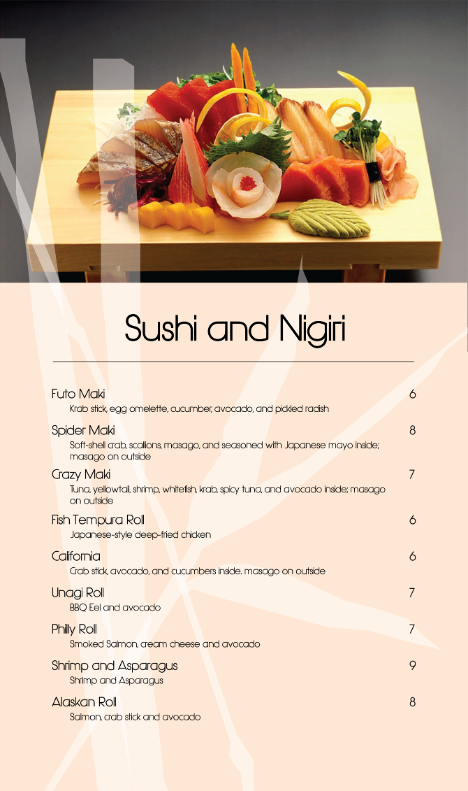 Japanese restaurant menu for Akina japanese cuisine menu